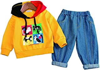 Chumhey Baby & Little Boys Cartoon Cat Hooded Sweater Elastic Jeans 2Pcs Pants Set