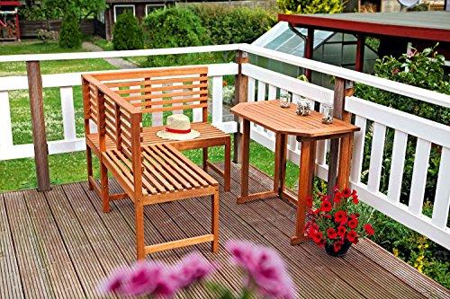 MERXX Eckbank-Set aus Eukalyptus in braun, Tisch ca. 90x60 cm, FSC Mix