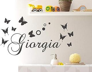 Adesivi Murali Nome personalizzato bambini farfalle e cerchi pois Adesivo Murale cameretta Wall Stickers Personalizzato De...
