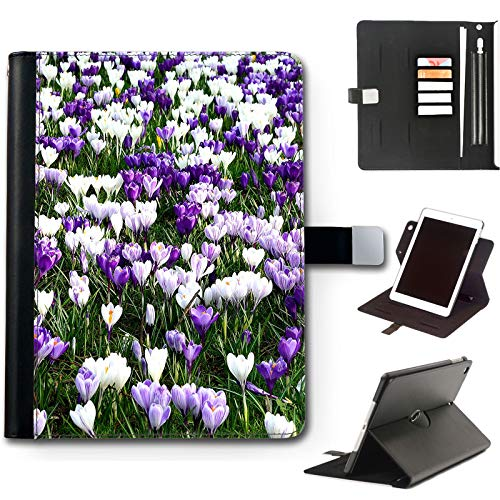 Lilac Crocus Flowers iPad Case For Apple iPad Air 4 (2020) 10.9 inch, 360 Swivel Leather Side Flip Wallet Folio Cover with Stand Feature, Card Slots, Paper Slot, Pen Holder