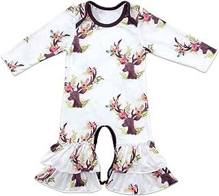 Newborn Baby Toddler Girl Ice Ruffle Hem Jumpsuit Romper Long Sleeve Bodysuit Playwear Christmas Pajamas Outfit Clothes