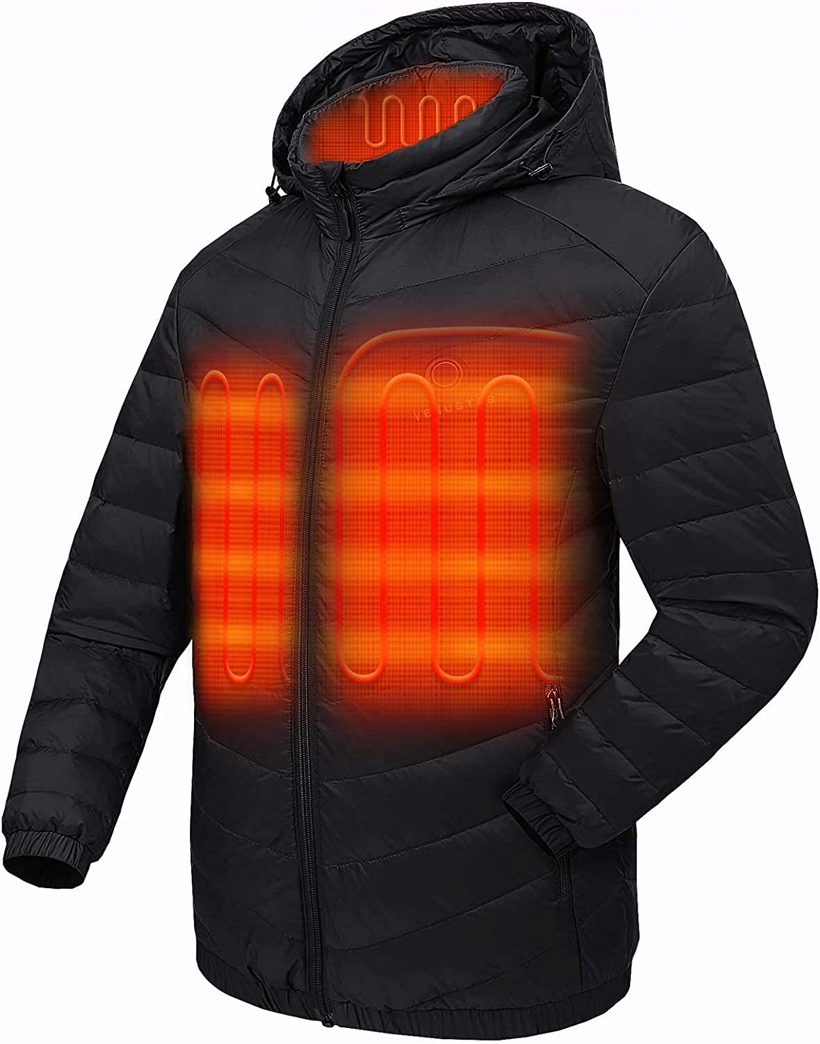 Venustas Men's Down Heated Jacket with Battery Pack 7.4V and Detachable Hood
