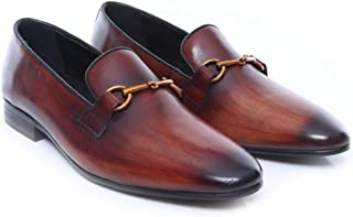 Loafer Slipper - Leather Brass Horsebit Buckle (Hand Painted Patina) Made from Hand Finished Calf Leather with Breathable Microfiber Insole Men's Shoes - Smart Casual/Formal