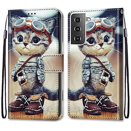 Nadoli Handyhülle Leder für Samsung Galaxy S30,Bunt Bemalt Lustig Leder Schuhe Katze Trageschlaufe Kartenfach Magnet Ständer Schutzhülle Brieftasche Ledertasche Tasche Etui