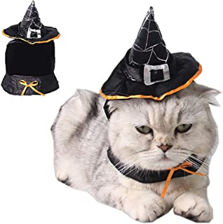 ANIAC Pet Halloween Hat Party Costume Kitten Adjustable Magic Witch Hat with Star Decor and Wig Christmas Cap Puppy Cute Head Accessories for Cats and Small to Medium Sized Dogs