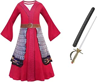 My Style Mulan Inspired Costume for Girls Cosplay Halloween Dress Up Dress and Plastic Sword Size 9/10