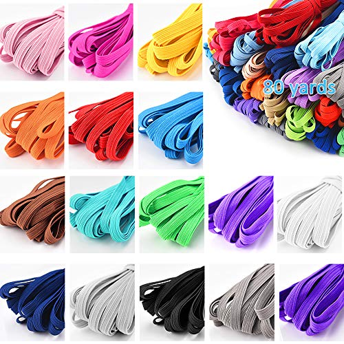Color Elastic Bands For Sewing, 1/4 Inch Elastic String For Masks, 16 Colored Elastic For Sewing Masks, Headbands, Hair Bands, Shorts Waist, Shoe Laces, Wigs, Bracelets, Crafts DIY Projects(16 Colors)