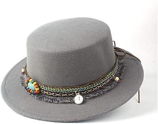 Pork Pie Hat Fedora Trilby Flat Top Hat Men Women Winter Wide Brim Hat Dance Party Hat Wool Trilby Hat Size 56-58CM (Color : Gray, Size : 56-58)