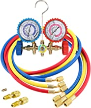 LIYYOO Air Conditioning Refrigerant Charging Hoses with Diagnostic Manifold Gauge Set and 2 Quick Coupler for R410A R22 R404 Refrigerant Charging,1/4