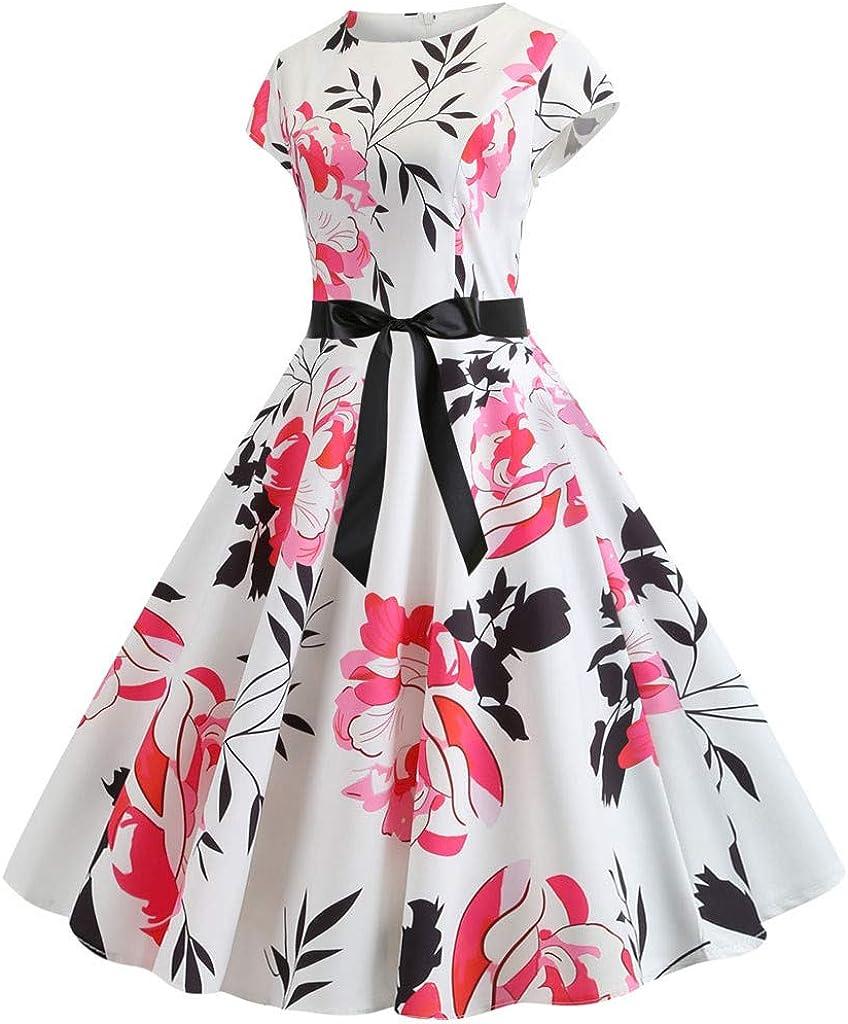 COZOCO Precioso Vestido Retro sin Mangas con Estampado de ...