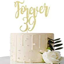 Forever 39th Cake Topper - for 39th Birthday Party/Wedding Anniversary/Anniversary Celebration Cake Toppers Decorations (Gold)