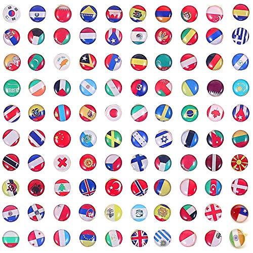 PEAK-EU 100 Piezas Chinchetas para Mapas Tachuelas de Bandera Nacional para Mapas de Pared Fotos Tableros de Corcho o Tablero de Anuncios