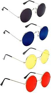 IFLASH Unisex Metal Frame UV Protected Round Shape Sunglasses, Free Size