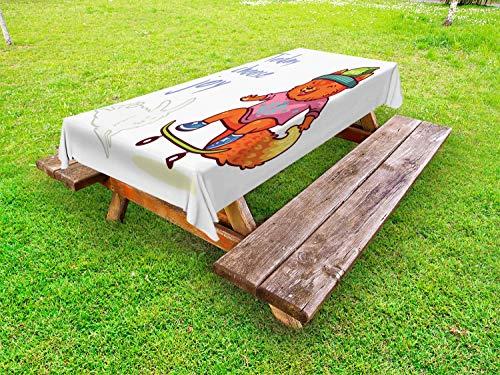 ABAKUHAUS Kies Joy Tafelkleed voor Buitengebruik, Vos van de baby Skateboarding, Decoratief Wasbaar Tafelkleed voor Picknicktafel, 58 x 84 cm, Veelkleurig