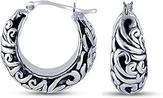 Charmsy Plata Joyas de Plata oxidada diseño Filigrana Antigua Pendiente del aro de la Mujer 25 mm