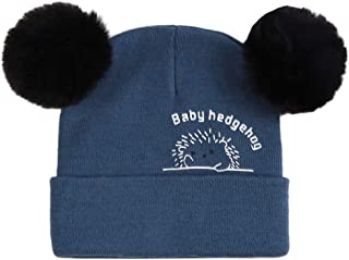 Tomppy Baby Boys Girls Winter Knitted Hats Kids Cable Knit Beanie Hat with Faux Fur Pompom Ears Slouchy Skull Caps