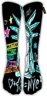 Unisex Classic Knee High Over Calf New York Statue Of Liberty Map Trendy Dry 3D Print Athletic Soccer Tube Cool Fun Party Cosplay Socks