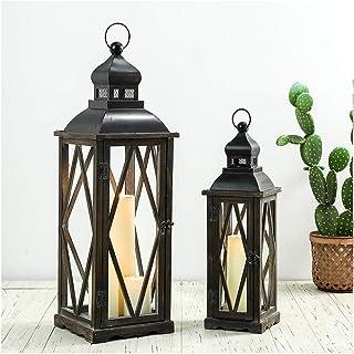 Glitzhome 2 Pack Farmhouse Wood/Metal Decorative Candle Lanterns Vintage Hanging Lantern for Patio - Tabletop, Black (No G...