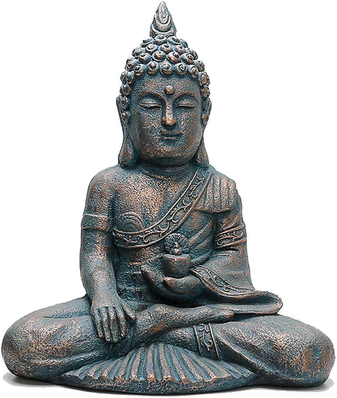 estilo clásico CCJW Estatua de de de Buda tailandesa Resina Escultura de Piedra Porche Patio jardín Sentado Estatua de Buda 44cmx28cmx55cm  te hará satisfecho