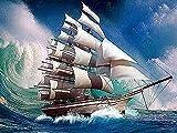 Barco de bricolaje bordado de diamantes barco de vela mosaico de diamantes paisaje Kit de bordado de diamantes de imitación imagen pintura de diamantes A5 40x50cm