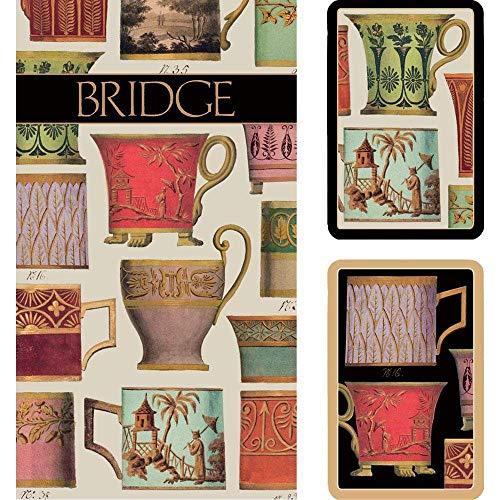 Caspari Salon de Thé Bridge Gift Set, 2 Playing Card Decks & 2 Score Pads