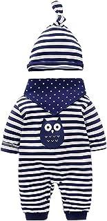 Vine Neugeborenes Baby 3 Pcs Strampler Spielanzug Baumwolle Langarm Baby Outfits Unisex Kleinkinder Streifen Jumpsuits mit Hut & Geifer-Lätzchen