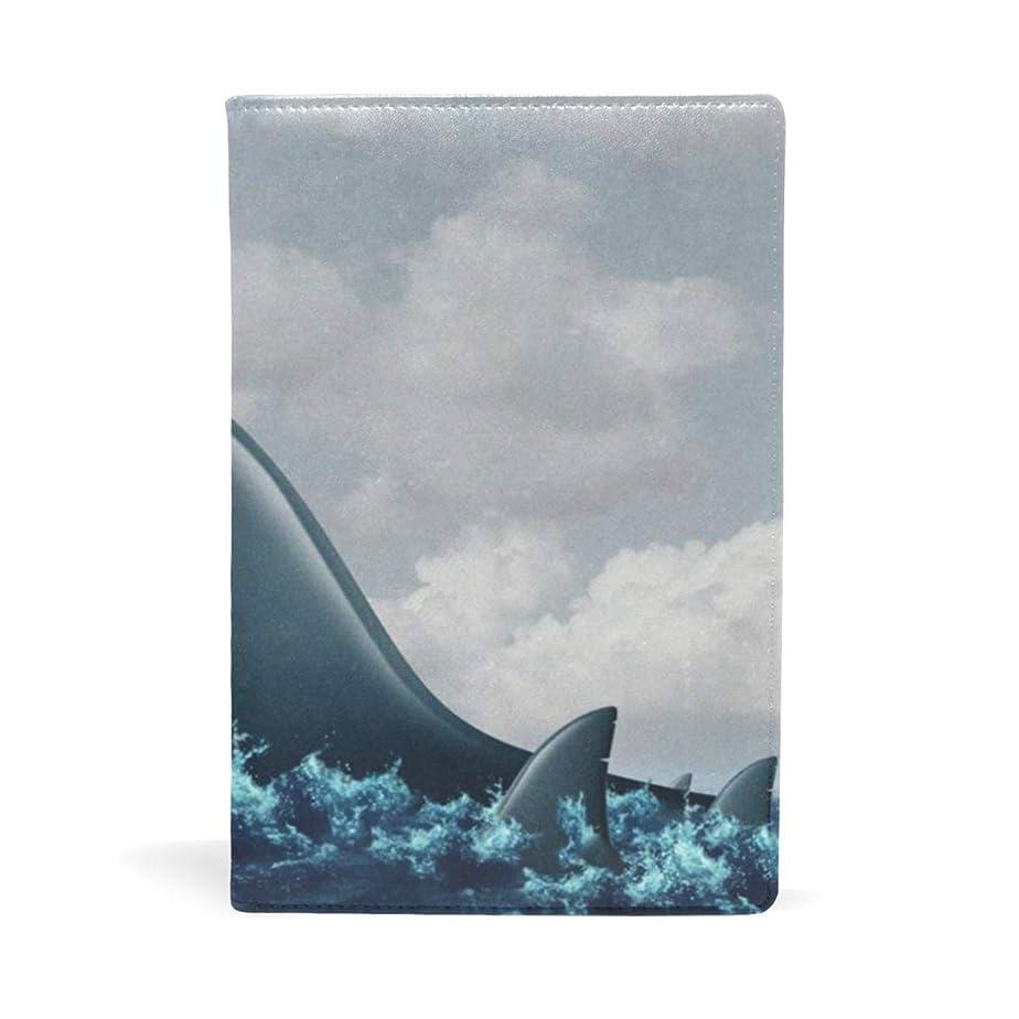 シャーバッチ船乗りサメ 鮫 魚柄 ブックカバー 文庫 a5 皮革 おしゃれ 文庫本カバー 資料 収納入れ オフィス用品 読書 雑貨 プレゼント耐久性に優れ