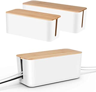Cable Management Box by Baskiss, Bamboo Lid, Cord Organizer for Desk TV Computer USB Hub System to Cover and Hide & Power ...