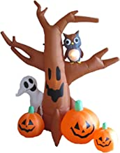 8 Foot Dead Tree with Owl, Ghost and Pumpkins