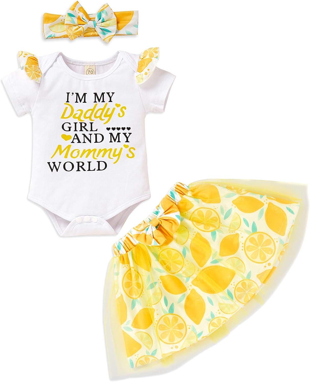 Newborn Baby Girls Skirt Set Daddy's Girl Mommy's World Romper Tutu Skirt Headband Outfit Clothes
