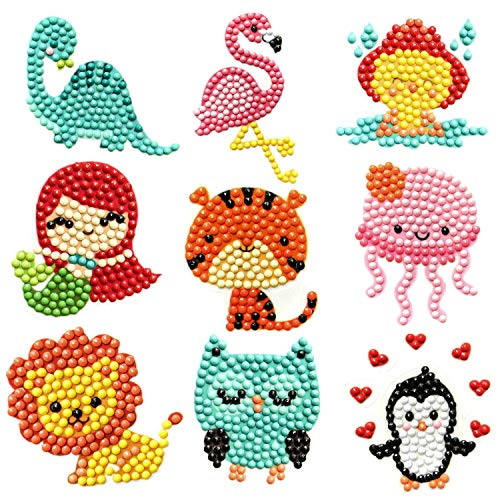 Sinceroduct 64 PCS 5D DIY Diamond Painting Stickers Kits for Kids and Adult Beginners, Stick - Shaped Paint Marked with Diamonds by Numbers, More Cute Animals, Dinosaurs, Kids Gift