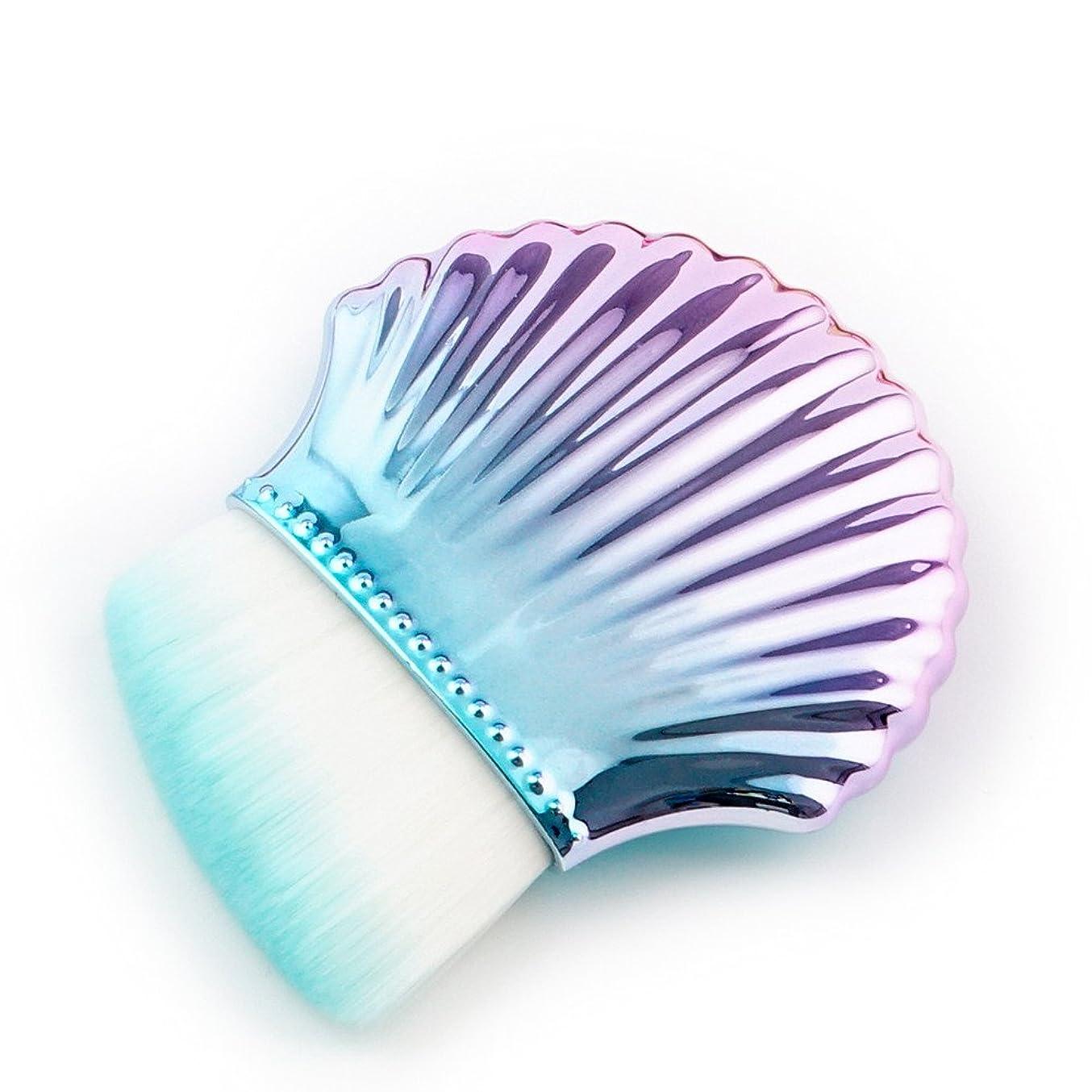 スイ調べる本当のことを言うと(プタス)Putars メイクブラシ ファンデーションブラシ 貝模様 水色 化粧ブラシ ふわふわ お肌に優しい 毛量たっぷり メイク道具 プレゼント