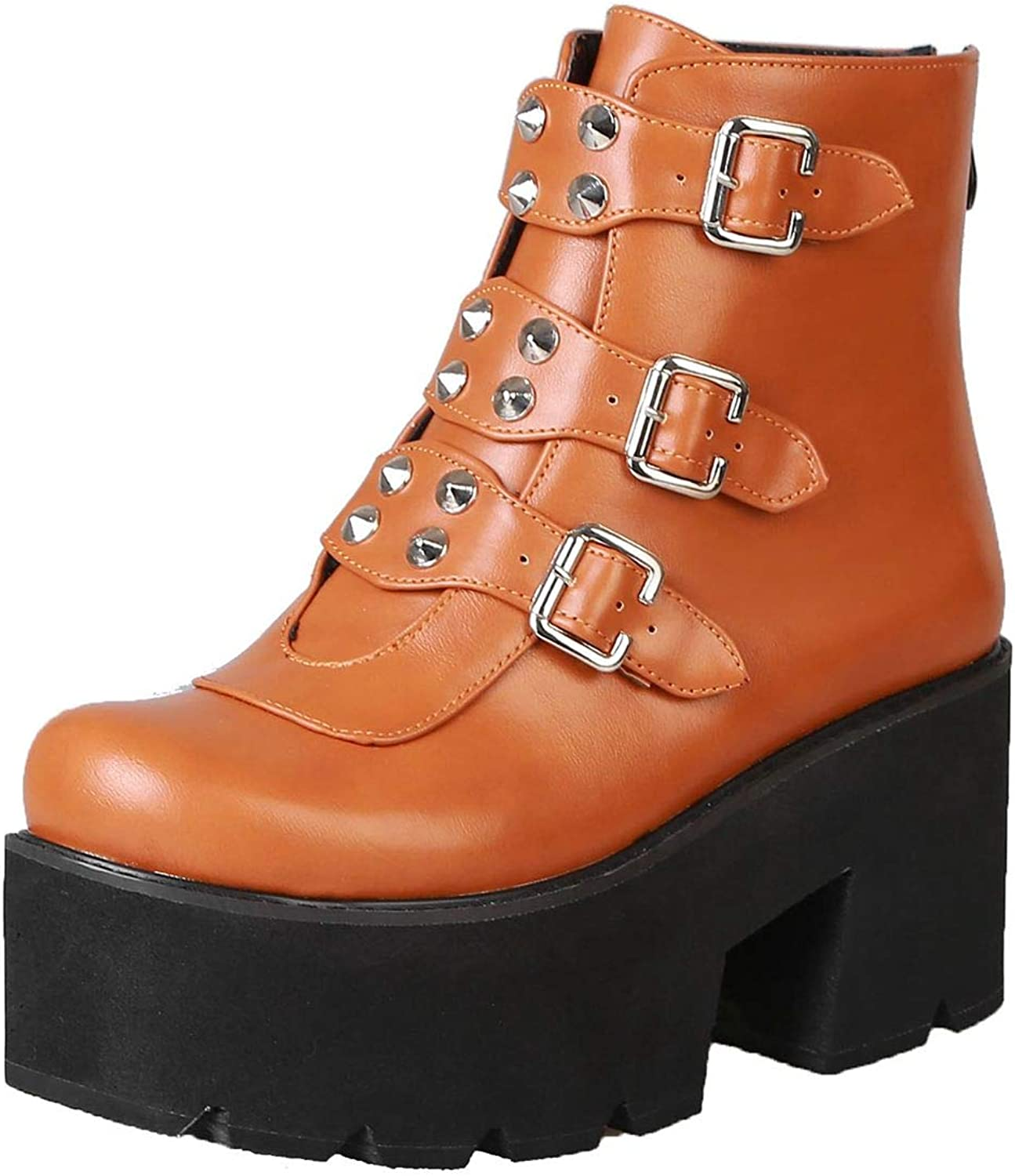 Vitalo Womens Studded Platform Chunky High Heels Ankle Booties Biker Punk Strappy Buckle Boots