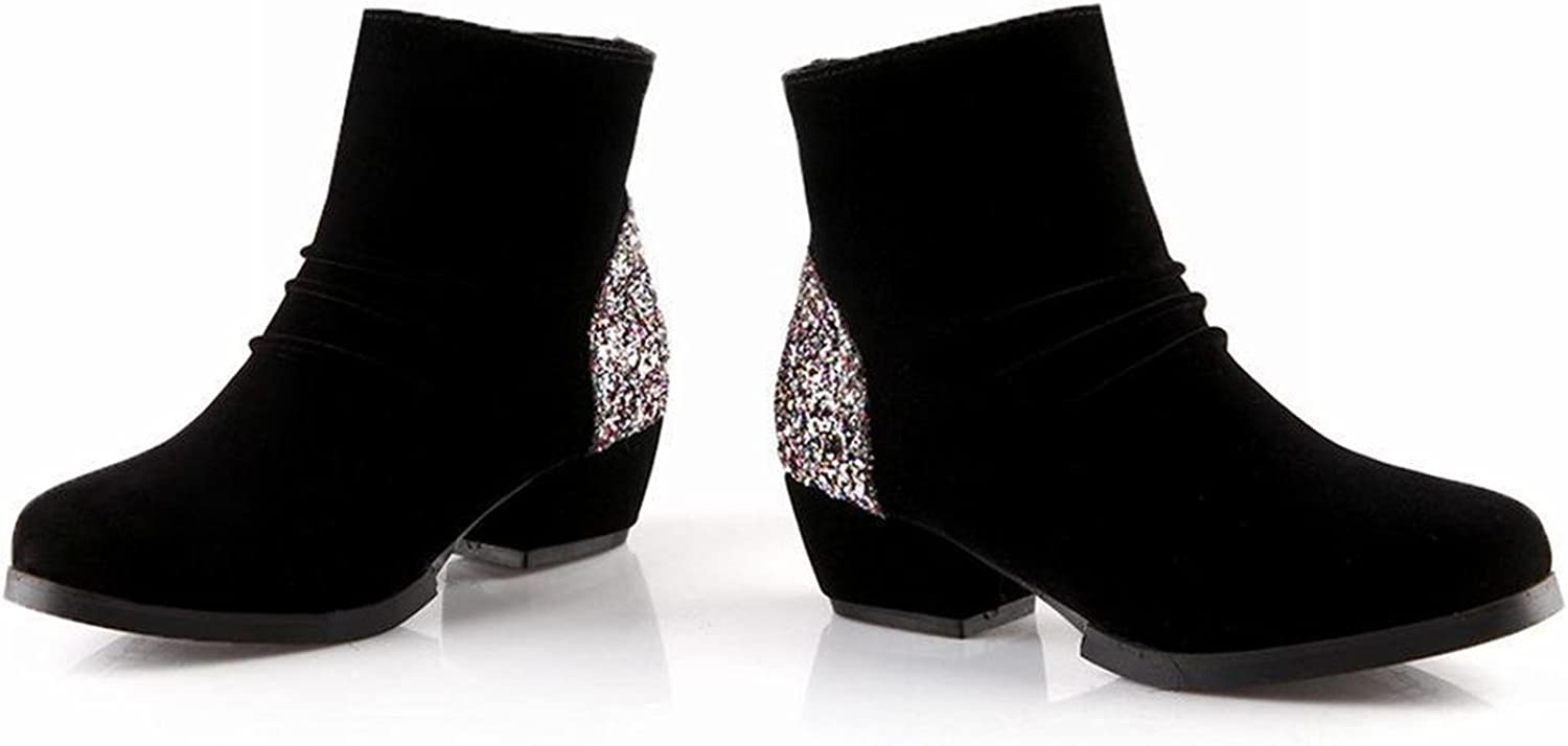 Tirahse Sweet Fashion Women's Shiny Sequins Zipper Casual Middle Heel Ankle Dress Boots