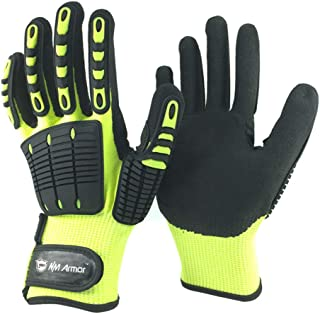 Nmsafety Anti Vibration Oil-proof Cut Resistant Safety Work Glove,Full finger,Yellow Nylon+HPPE+Glassfirbe Seamless Knitted Liner With Sandy Nitrile Rubber Palm,Excellent Grip. (Large)
