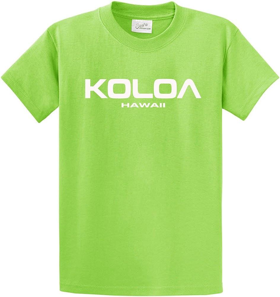 Joe's USA Koloa/Hawaii Text Logo T-Shirts in Size Large Tall - LT Lime