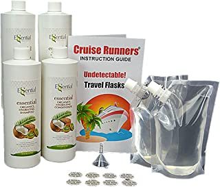 Fake Shampoo & Conditioner Bottles By CRUISE RUNNERS Hidden Liquor Sneak Smuggle Alcohol Flask Kit For Cruise | Booze Bags | Rum Runners