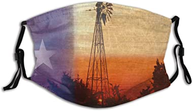 BYJHMB Old Windmill Sunset Clouds Rural Texas Colorful Sky Wind Farm Texas Flag Star Cotton Washable Nose Wired Face Cover Filter Pocket Wide Cover with Filter