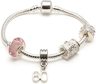 Liberty Charms Age 60 'Pink Parfait' Silver Plated Sparkle Charm/Bead Bracelet