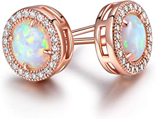 18K Rose Gold Plated or White Gold Plated Created Opal Halo Stud