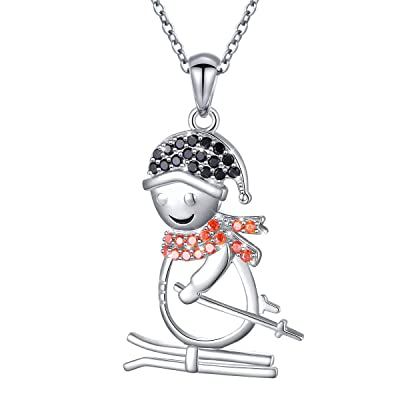 925 Sterling Silver Gift Cute Skiing Snowman Pe...