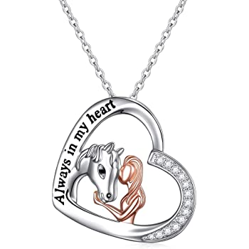 Amazon Com 925 Sterling Silver Always In My Heart Horse Pendant Necklace For Women Girlfriend Daughter Rolo Chain 18 Clothing