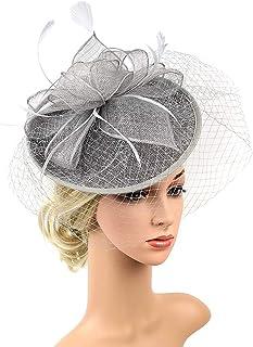 Women Fascinators Hat Flower Feather Net Mesh Kentucky Derby Tea Headdress,Handmade Headwear with Hair Clip And Hairband for Derby Kentucky Wedding Headdress,Gray