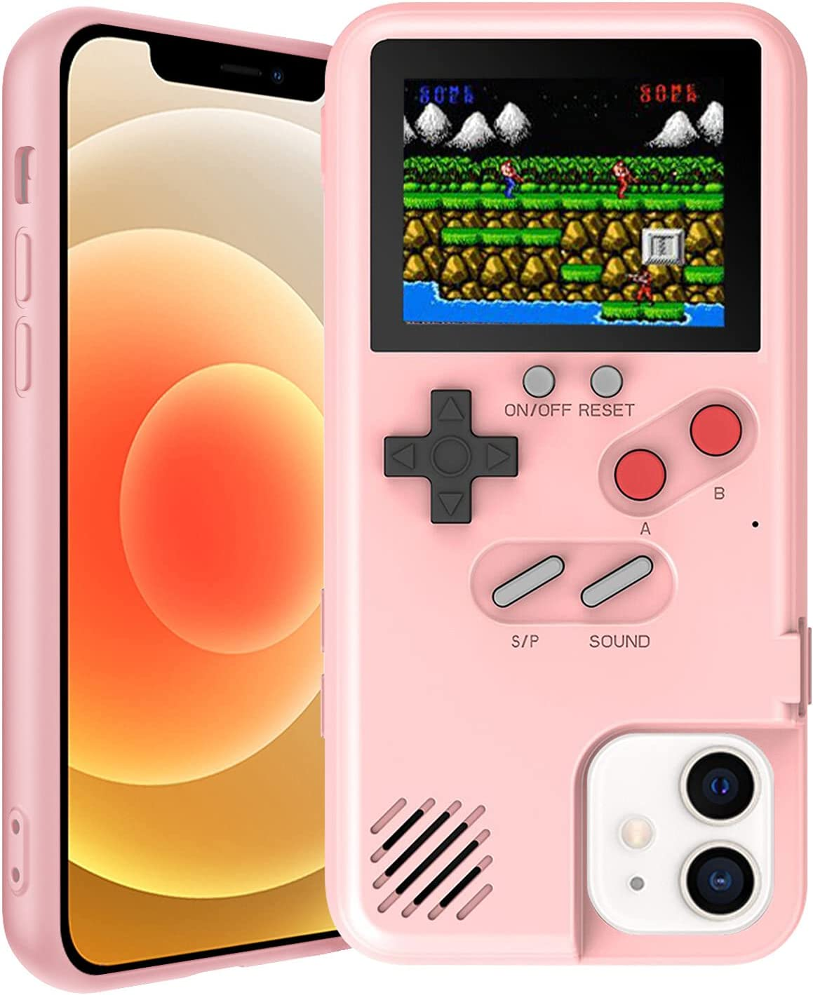 Gameboy Case for iPhone, Autbye Retro 3D Phone Case Game Console with 36 Classic Game, Color Display Shockproof Video Game Phone Case for iPhone(for iPhone 6P/7P/8P, Pink)
