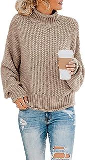 Saodimallsu Womens Turtleneck Oversized Sweaters Batwing Long Sleeve Pullover Loose Chunky Knit Jumper