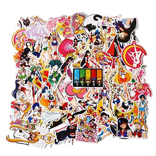 75 Pcs/Pack Sailor Moon Stickers Cartoon Anime Girls Sticker Pack Laptop Waterproof Skateboard Snowboard Car Bicycle Luggage Decal