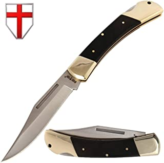 Folding Knife - Folding Pocket Knife - EDC and Outdoor Large Fold Knives Classic Clip-point Stainless Steel Blade Wooden Handle - Best Strong Pocket Knife for Urban and Hiking - Grand Way FB 1005 A