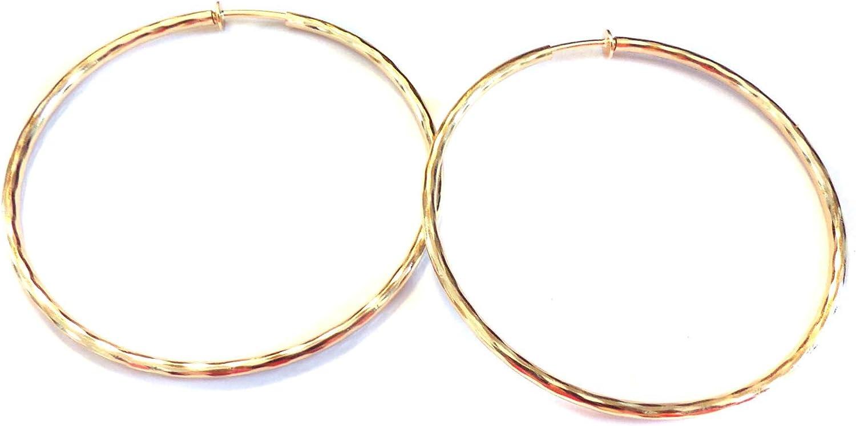 Clip-on Earrings Gold Tone Hoop Earrings Wavy Hoop Hypoallergenic 2.25 inch