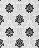 Papel pintado diseño barroco damasco EDEM 052-20 ornamentos relieve flock negro blanco gris claro