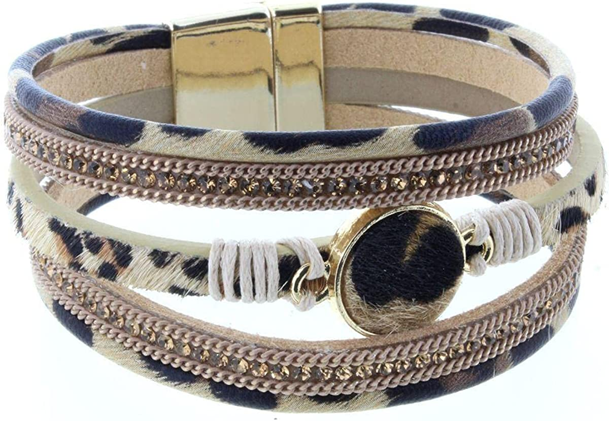 Jane Marie Leopard Multi Strand Brace with Magnetic Disk Max 63% OFF Easy-to-use